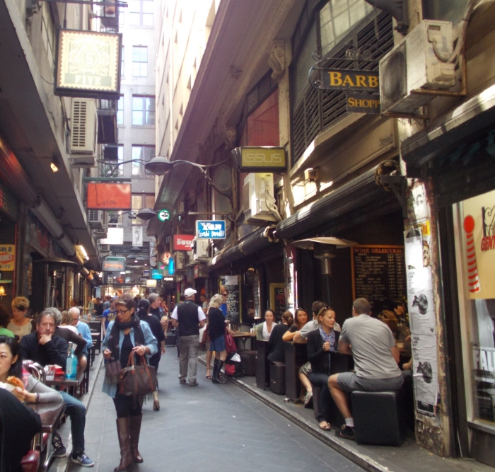 One of Melbourne's famous laneways. Melbourne, Australia.